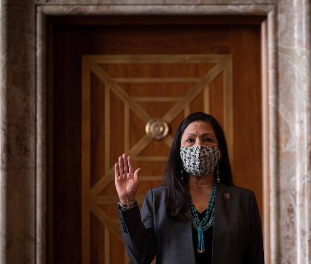 Congresswoman Deb Haaland, D-N.M., is sworn in during the Senate Committee on Energy and Natural Resources hearing on her nomination to be Interior Secretary on Capitol Hill in Washington, DC, U.S. February 23, 2021.    Jim Watson/Pool via REUTERS