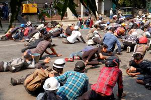 Myanmar police open fire on protesters despite calls for restraint