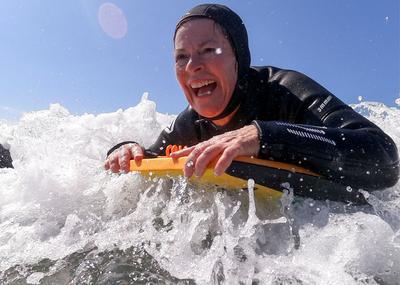 Senior women find boogie boarding joy on California coast
