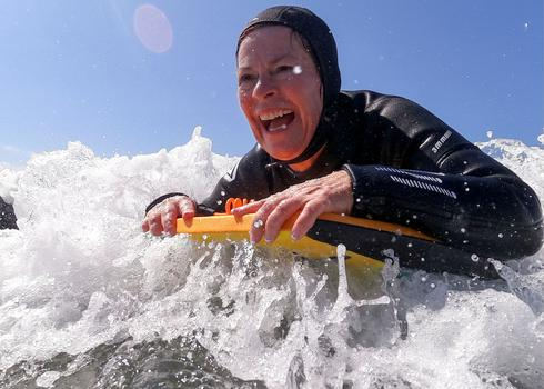 Senior women find boogie boarding joy on California coast