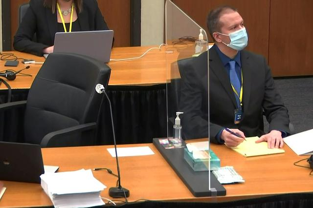 Former Minneapolis police officer Derek Chauvin attends the eighth day of his trial for second-degree murder, third-degree murder and second-degree manslaughter in the death of George Floyd in Minneapolis, Minnesota, U.S. April 7, 2021 in a still image from video.  Pool via REUTERS