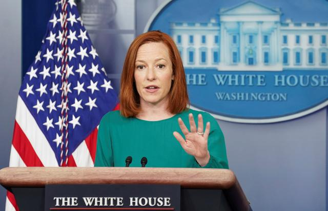 FILE PHOTO: White House press secretary Jen Psaki speaks during a briefing at the White House in Washington, U.S., April 6, 2021. REUTERS/Kevin Lamarque