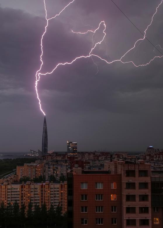 Lightningstrikesare seen above the business tower Lakhta Centre, which is under construction in Saint Petersburg, Russia. REUTERS/Anton Vaganov