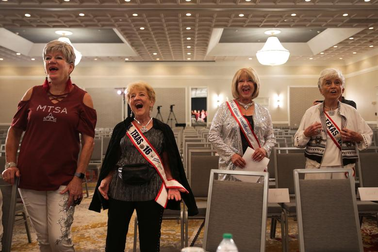 Pageant board members and supporters laugh at a joke made onstage during a rehearsal. REUTERS/Shelby Tauber