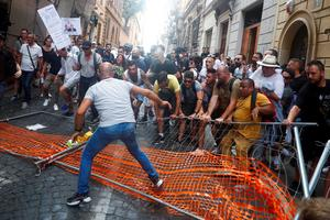 Italians protest 'Green Pass' proof of COVID immunity