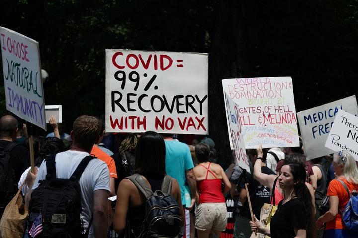 Protestors hold an anti-vaccine rally at Central Park