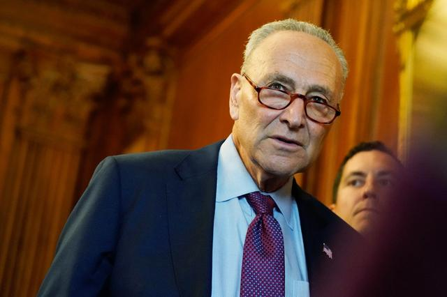 FILE PHOTO: U.S. Senate Majority Leader Chuck Schumer attends a news conference with mothers helped by Child Tax Credit payments at the U.S. Capitol in Washington, U.S., July 20, 2021. REUTERS/Elizabeth Frantz