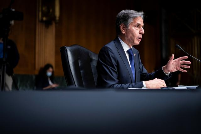 U.S. Secretary of State Antony Blinken testifies during a Senate Foreign Relations Committee hearing to examine the United States' withdrawal from Afghanistan on Capitol Hill, in Washington, U.S., September 14, 2021. Jabin Botsford/Pool via REUTERS
