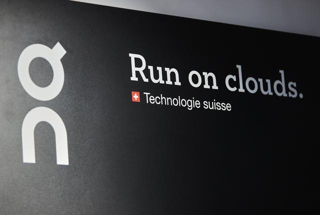 The logo of ON (Run on Clouds), a shoemaker backed by Swiss tennis player Roger Federer, is pictured in the Swiss Sport Style shop ahead of the Initial Public Offering (IPO), in Lausanne, Switzerland, September 14, 2021. REUTERS/Denis Balibouse