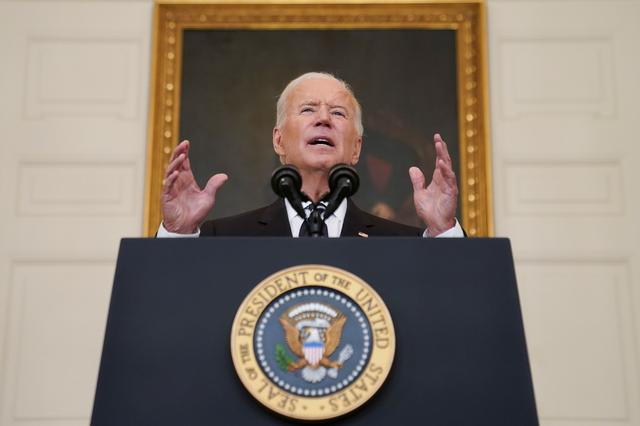 FILE PHOTO: U.S. President Joe Biden delivers remarks on the Delta variant and his administration's efforts to increase vaccinations, from the State Dining Room of the White House in Washington, U.S., September 9, 2021. REUTERS/Kevin Lamarque